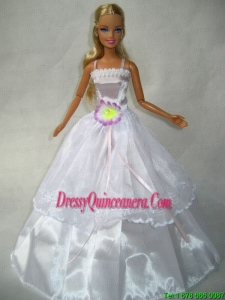 Beautiful White Gown With Flower Made To Fit the Barbie Doll