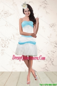 Beautiful White and Baby Blue Strapless Dama Dresses for 2015