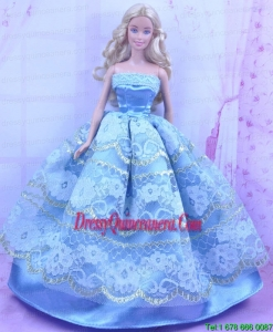 Blue Handmade Gown With Appliques and Sequins Made to Fit the Barbie Doll