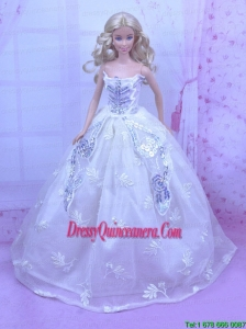 Elegant White Gown With Embroidery and Sequins Made to Fit the Barbie Doll