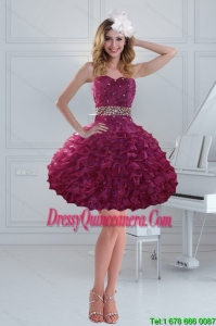 Fashionable and Beautiful Beading Strapless Dama Dresses for 2015
