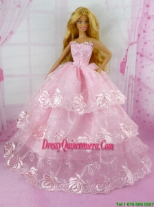Pretty Pink Princess With Embroidery and Ruffled Layers Gown For Barbie Doll