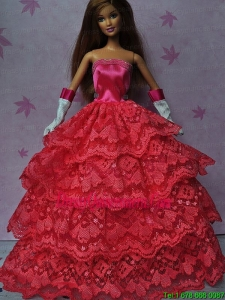Pretty Red Gown With Ruffled Layers Dress For Barbie Doll