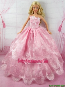 Romantic Pink Gown With Embroidery Dress For Barbie Doll