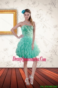 2015 Beautiful Apple Green Dama Dresses with Appliques and Ruffles