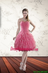 2015 Beautiful Strapless Dama Dresses with Beading and Ruffles