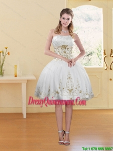 2015 Beautiful White Strapless Dama Dress with Embroidery