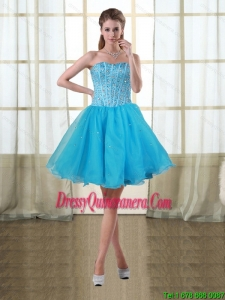 2015 Popular Baby Blue Sweetheart Short Dama Dresses with Beading