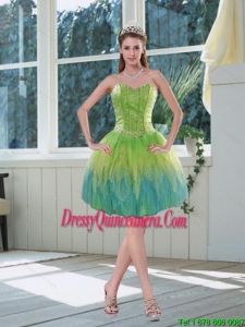 Beautiful Beaded Multi Color Sweetheart Dama Dress with Appliques