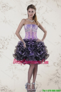 Beautiful Strapless Multi Color Dama Dresses with Ruffles and Appliqeues