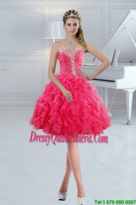 Beautiful Sweetheart 2015 Cute Dama Dresses with Ruffles and Beading