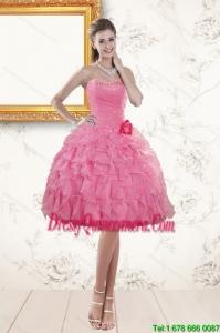 Beautiful Sweetheart Rose Pink 2015 Dama Dresses with Beading and Ruffles