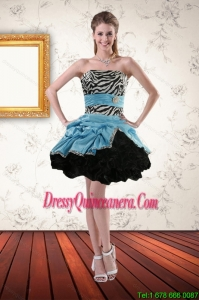 Beautiful Zebra Printed Strapless Dama Dresses with Ruffles and Pick Ups