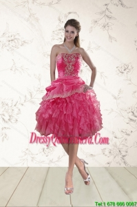 Coral Red Strapless Dama Dresses with Beading and Ruffles