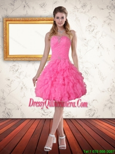 Popular Baby Pink Sweetheart Dama Dress with Beading and Ruffled Layers