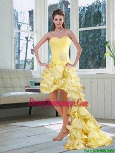 Popular Light Yellow Sweetheart High Low Dama Dress with Beading and Ruffled Layers