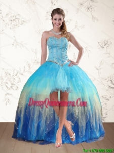 2015 Baby Blue Sweetheart Multi Color Dama Dresses with Ruffles and Beading