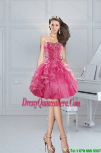 2015 Beautiful Pink Sweetheart Dama Dresses with Beading and Ruffles