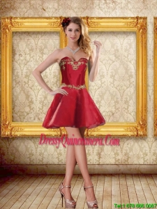 2015 Beautiful Sweetheart Wine Red Short Dama Dresses with Beading