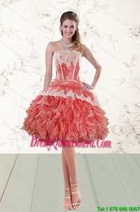 2015 Popular Ruffled Strapless Dama Gown in Watermelon