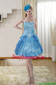 2015 Popular and Beautiful Sweetheart Blue Dama Dresses with Embroidery