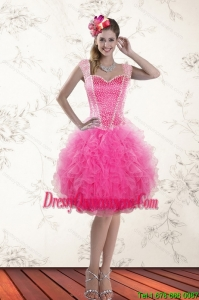 Beautiful Hot Pink 2015 Straps Dama Dresses with Beading and Ruffles