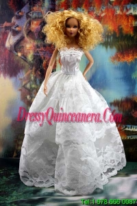 Beautiful Lace Over Skirt Wedding Barbie Doll Dress