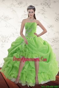 Beautiful Spring Green High Low Dama Dresses with Ruffles and Beading