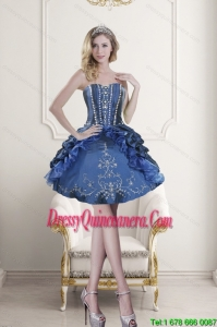 Beautiful Sweetheart Blue Embroidery and Beading Dama Dresses for 2015
