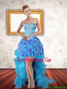 Beautiful Sweetheart High Low Ruffles Dama Dresses in Multi Color
