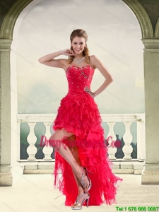 Coral Red Ball Gown Strapless Dama Dresses with Ruffles and Beading