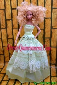 Cute Yellow Green Party Dress Made To Fit the Barbie Doll