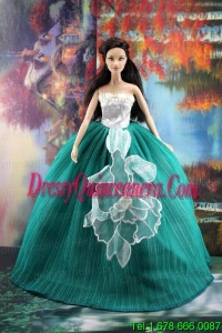 Elegant Green Gown With Appliques Dress For Barbie Doll