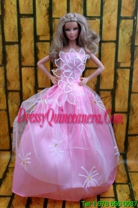 Fashion Princess Rose Pink Dress Gown For Barbie Doll