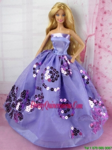 Fashion Purple Princess Dress With Sequins Gown For Barbie Doll