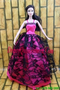 Gorgeous Hot Pink and Black Lace Gown For Barbie Doll