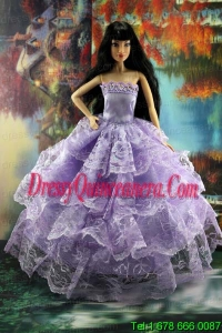 Gorgeous Lilac Gown With Ruffled Layers Lace For Barbie Doll