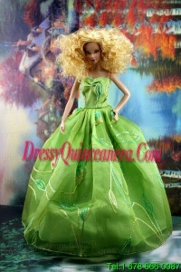 Green Pretty Dress With Embroidery Gown For Barbie Doll