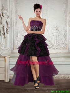 High Low Multi Color Strapless Dama Dresses with Ruffles and Embroidery