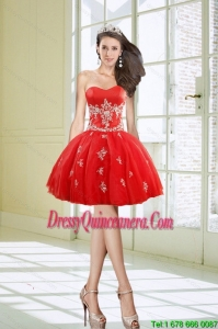 Hot Sale and Beautiful Ball Gown Sweetheart Appliques Red Dama Dresses for 2015