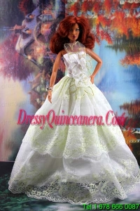 Lace and Hand Made Flowers To A Line Barbie Doll Dress
