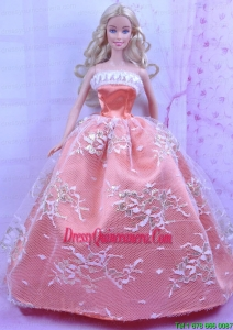 Luxurious Orange Dress With Appliques Made to Fit the Barbie Doll