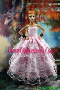 Luxurious Pink Gown With Ruffled Layers Lace For Barbie Doll