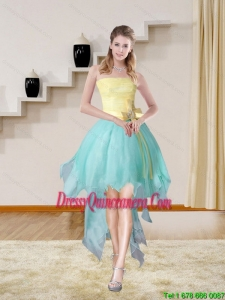 Multi Color Strapless High Low 2015 Elegant Dama Dresses with Bowknot