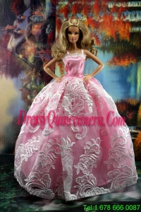 New Embroidery Fashion Princess Pink Dress Gown For Barbie Doll