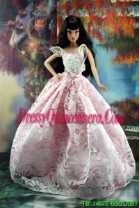 Pink and White Lace Over Skirt To Barbie Doll Dress