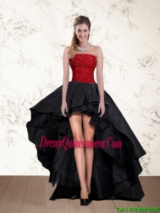 Popular High Low Strapless Beaded Dama Dresses in Red and Black