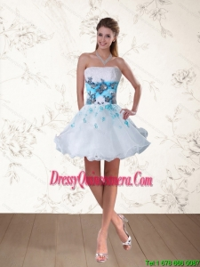 Popular Strapless Multi Color Dama Dress with Embroidery and Beading
