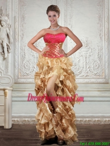 Popular Strapless Multi Color Dama Dresses with Beading and Embroidery