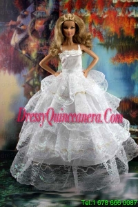 Pretty Ruffled Layers Wedding Dress To Barbie Doll Dress